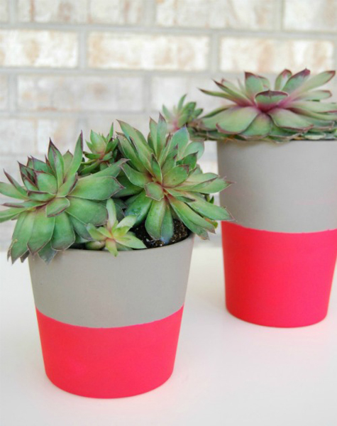 DiY Dipped Neon Pots