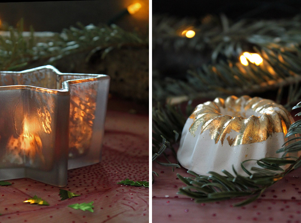 DiY Blattgold Gugelhupf aus Beton / DiY plaster bundt cake with gold leaf | orangenmond.at