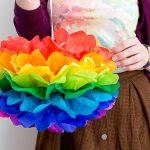 DiY Regenbogen Pompoms aus Seidenpapier basteln