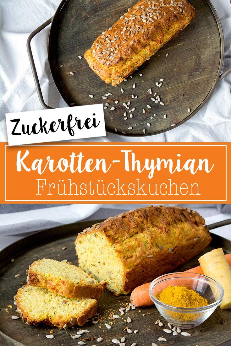 Idee für ein Frühstück ohne Zucker: Zuckerfreier Karotten-Thymian Frühstückskuchen - perfekt zum vorkochen!